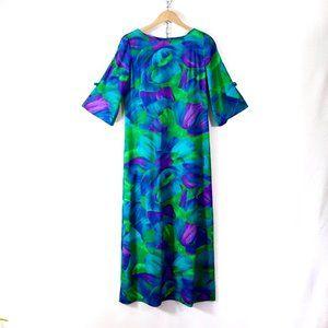 vintage 60s 70s jewel tone floral hawaiian dress M